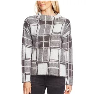 NWT Vince Camuto Gray Plaid Mock Neck Sweater